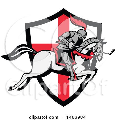 Clipart of a Horseback Knight Leaping over an English Flag Shield with a Golf Club in Hand - Royalty Free Vector Illustration by patrimonio