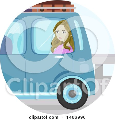 Clipart of a Teenage Girl Sitting in a Car While Moving Away - Royalty Free Vector Illustration by BNP Design Studio