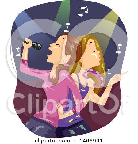 Clipart of Teenage Girls Singing Karaoke Back to Back - Royalty Free Vector Illustration by BNP Design Studio
