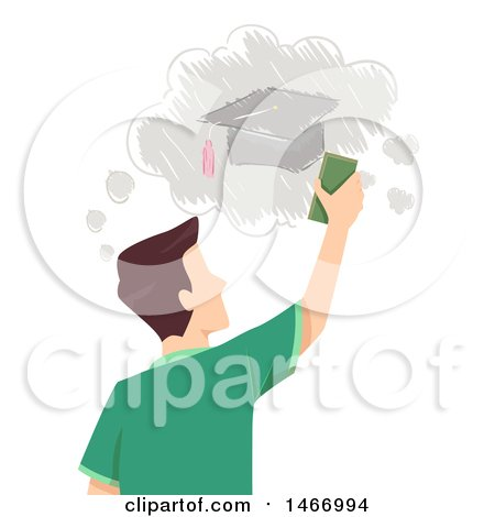 Clipart of a Rear View of a Teenage Guy Erasing a Drawing of a Graduation Cap - Royalty Free Vector Illustration by BNP Design Studio