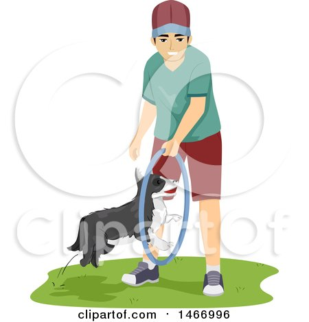 Clipart of a Teenage Guy Training His Dog to Jump Through a Hoop - Royalty Free Vector Illustration by BNP Design Studio