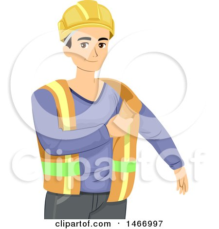 Clipart of a Teen Guy Putting on a Construction Worker Vet - Royalty Free Vector Illustration by BNP Design Studio