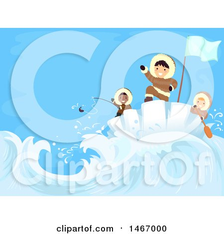 Clipart of a Group of Boys Fishing and Riding an Iceburg - Royalty Free Vector Illustration by BNP Design Studio