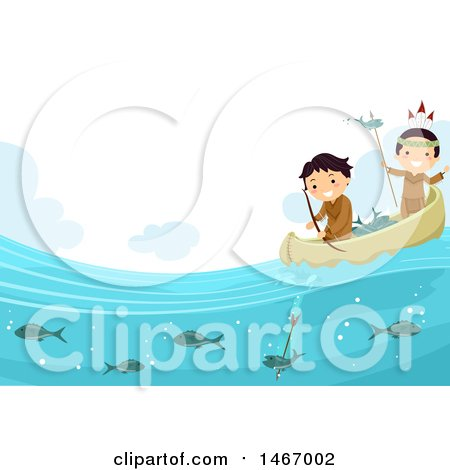 Clipart of Native American Boys Fishing in a Canoe - Royalty Free Vector Illustration by BNP Design Studio