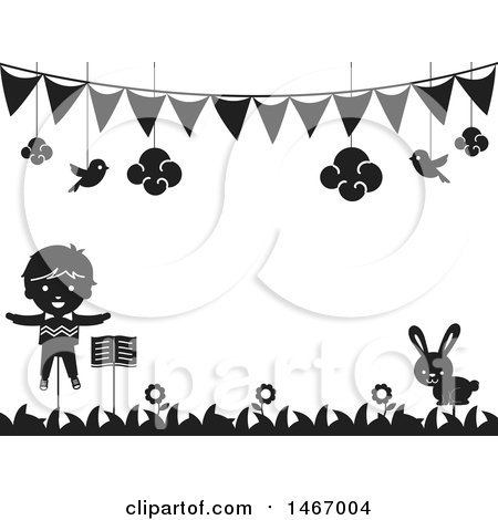 Clipart of a Black and White Stick Puppet and Rabbit Under a Banner - Royalty Free Vector Illustration by BNP Design Studio
