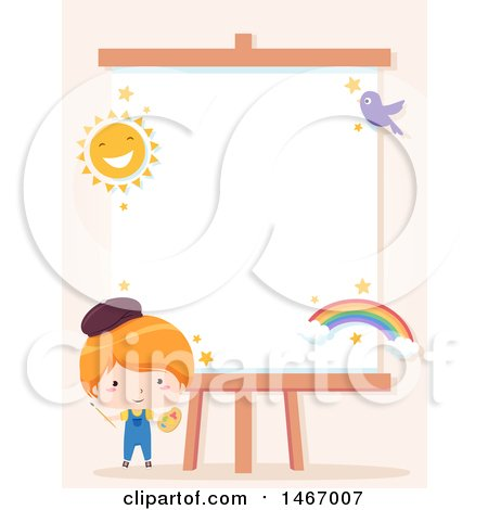 Clipart of a Boy Artist by a Canvas with a Sun, Bird and Rainbow - Royalty Free Vector Illustration by BNP Design Studio