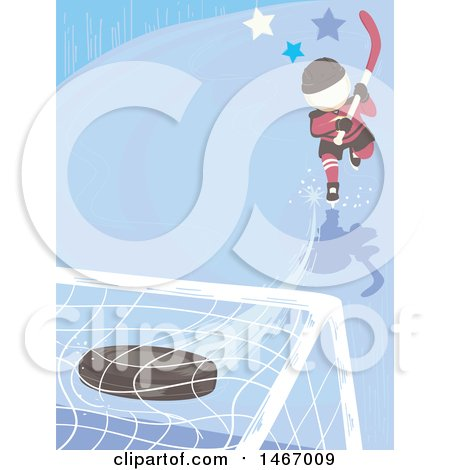Clipart of a Boy Hitting an Ice Hockey Puck into a Goal - Royalty Free Vector Illustration by BNP Design Studio