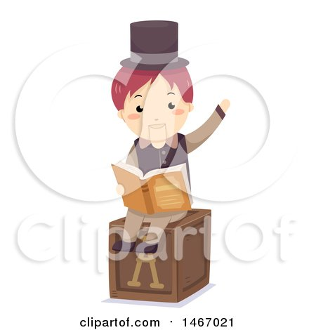 Clipart of a Wooden Puppet Reading a Story Book - Royalty Free Vector Illustration by BNP Design Studio