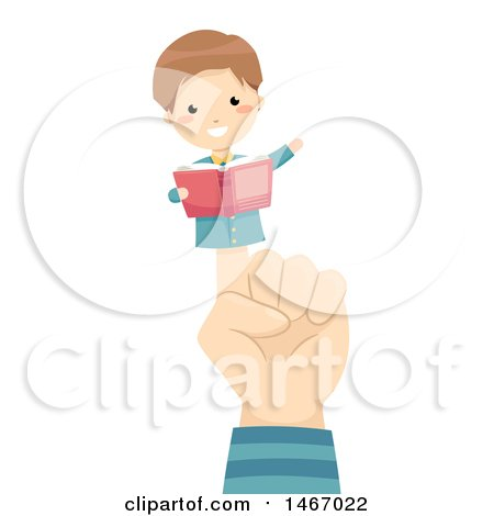 Clipart of a Hand with a Boy Finger Puppet Reading a Book - Royalty Free Vector Illustration by BNP Design Studio