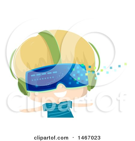 Clipart of a Blond Boy Wearing Virtual Reality Glasses, with Pixels Floating Away - Royalty Free Vector Illustration by BNP Design Studio