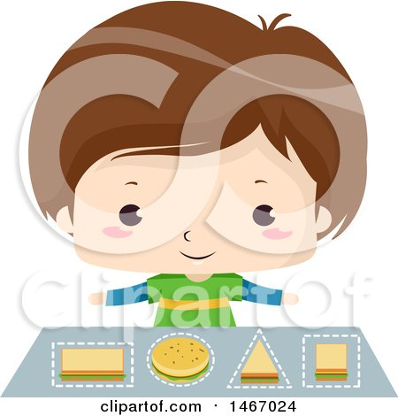 Clipart of a Brunette Boy Learning Geometric Shapes with Sandwiches - Royalty Free Vector Illustration by BNP Design Studio