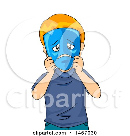Clipart of a Red Haired Boy Holding a Sad Mask over His Face - Royalty Free Vector Illustration by BNP Design Studio