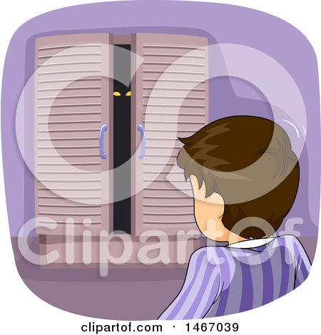 Clipart of a Brunette Boy Looking at a Monster in His Closet - Royalty Free Vector Illustration by BNP Design Studio