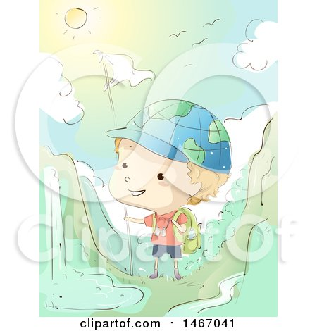 Clipart of a Sketched Boy Wearing a Globe Hat, Hiking in the Mountains - Royalty Free Vector Illustration by BNP Design Studio