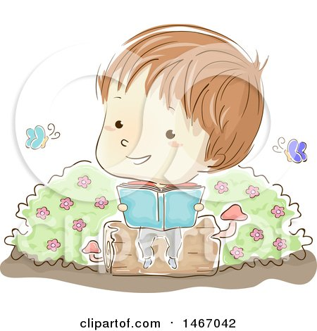 Clipart of a Sketched Boy Sitting on a Log and Reading a Book, with Butterflies - Royalty Free Vector Illustration by BNP Design Studio