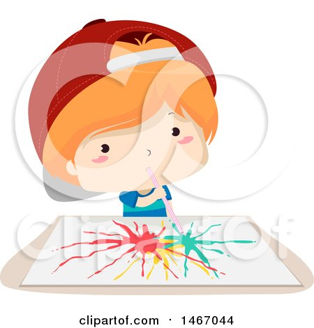 Clipart of a Red Haired Boy Using a Straw to Paint on Paper - Royalty Free Vector Illustration by BNP Design Studio