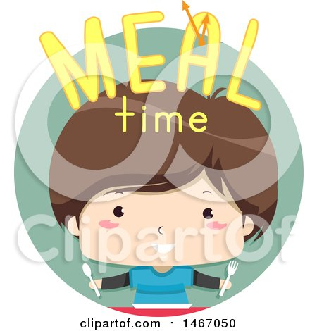 Clipart of a Boy with Meal Time Text in a Circle - Royalty Free Vector Illustration by BNP Design Studio