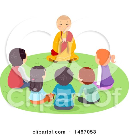 Clipart of a Group of Teenagers Gathered Around a Monk - Royalty Free Vector Illustration by BNP Design Studio