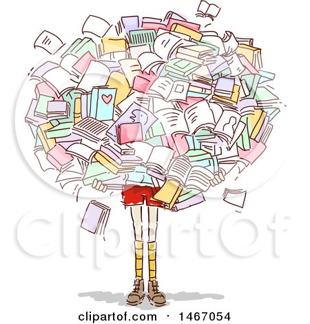 Clipart of a Sketched Girl Carrying a Giant Cluster of Books - Royalty Free Vector Illustration by BNP Design Studio