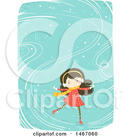 Clipart of a Happy Girl Ice Skating - Royalty Free Vector Illustration by BNP Design Studio