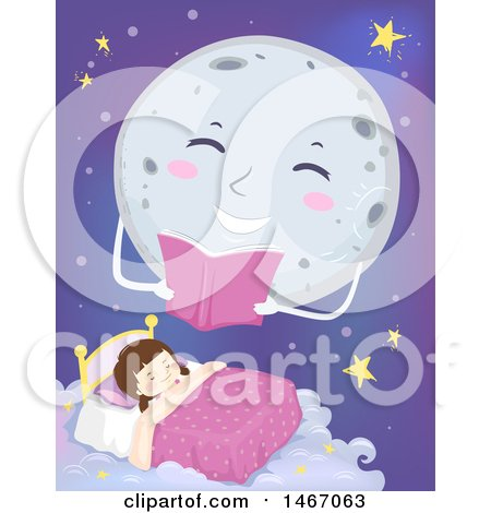 Clipart of a Full Moon Reading a Story over a Sleeping Girl - Royalty Free Vector Illustration by BNP Design Studio