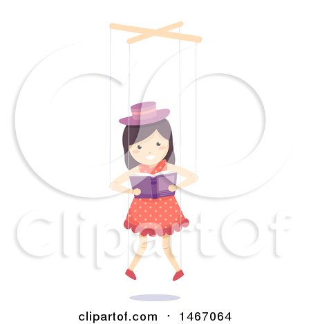 Clipart of a Marionette Puppet Girl Reading a Book - Royalty Free Vector Illustration by BNP Design Studio