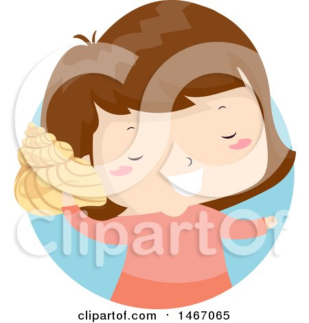 Clipart of a Happy Girl Listening to a Conch Shell - Royalty Free Vector Illustration by BNP Design Studio