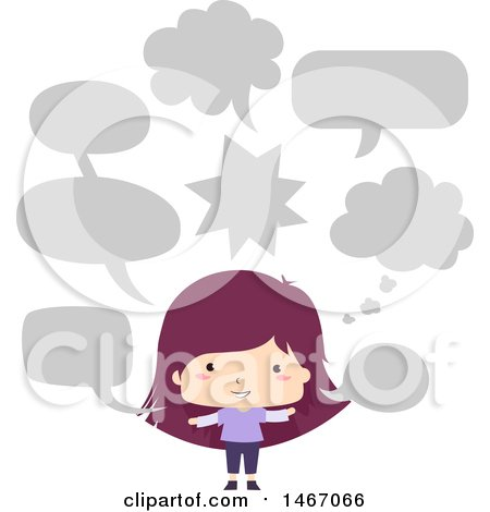 Clipart of a Purple Haired Girl with Speech Balloons - Royalty Free Vector Illustration by BNP Design Studio