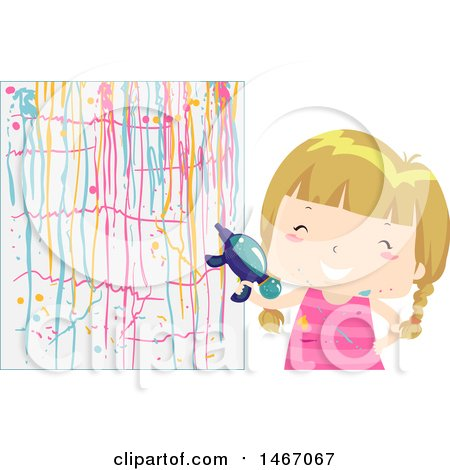 Clipart of a Blond Girl Painting a Wall with a Squirt Gun - Royalty Free Vector Illustration by BNP Design Studio