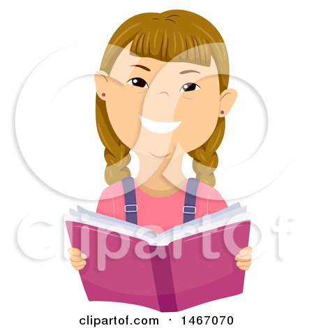 Clipart of a Girl with down Syndrome Reading a Book - Royalty Free Vector Illustration by BNP Design Studio