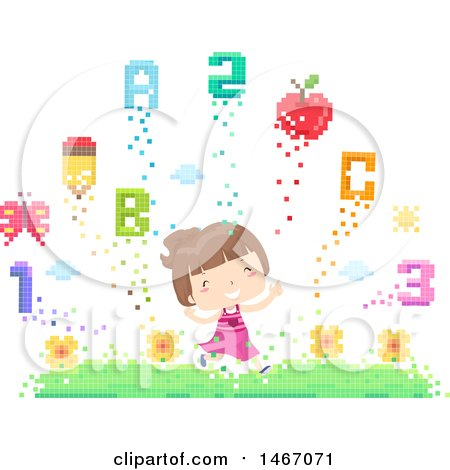 Clipart of a Happy Girl Running Through a Pixelated Garden with Flowers, Numbers and Letters - Royalty Free Vector Illustration by BNP Design Studio