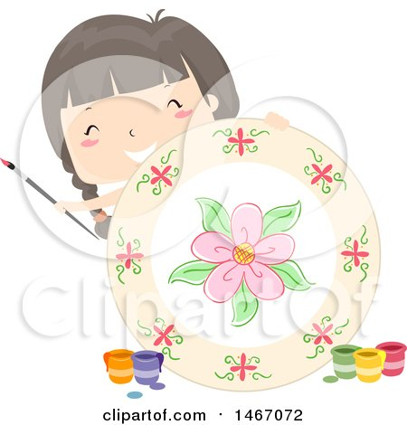 Clipart of a Girl Holding up a Plate That She Painted - Royalty Free Vector Illustration by BNP Design Studio