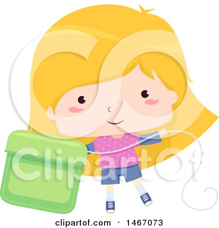 Clipart of a Blond Girl with a Giant Dental Floss Container - Royalty Free Vector Illustration by BNP Design Studio