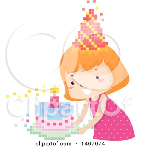 Clipart of a Red Haired Girl with a Pixelated Party Hat and Birthday Cake - Royalty Free Vector Illustration by BNP Design Studio