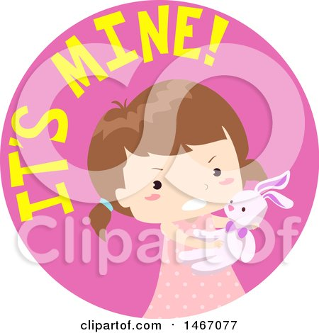 Clipart of a Girl with It's Mine Text in a Circle - Royalty Free Vector Illustration by BNP Design Studio