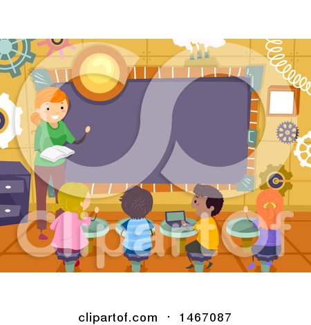 Clipart of a Female Teacher and Students in a Steampunk Class Room - Royalty Free Vector Illustration by BNP Design Studio