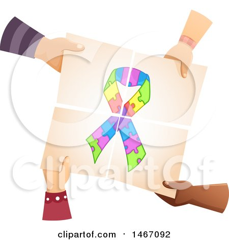 Clipart of a Group of Kid Hands Holding Together Pieces of Paper with an Autism Awareness Ribbon - Royalty Free Vector Illustration by BNP Design Studio