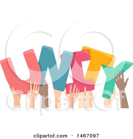 Clipart of a Row of Hands Holding up Unity Letters - Royalty Free Vector Illustration by BNP Design Studio