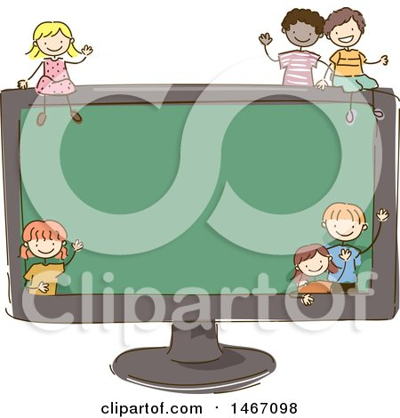 Clipart of a Sketched Group of Children Around a Giant Computer Screen - Royalty Free Vector Illustration by BNP Design Studio