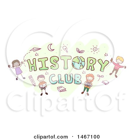 Clipart of a Sketch of Children Around the Word History Club - Royalty Free Vector Illustration by BNP Design Studio