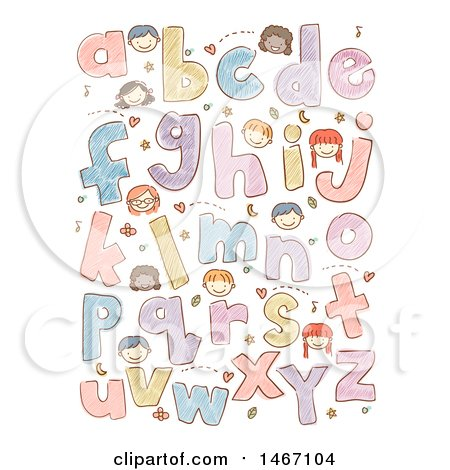Clipart of a Sketched Design of Alphabet Letters and Faces of Children - Royalty Free Vector Illustration by BNP Design Studio