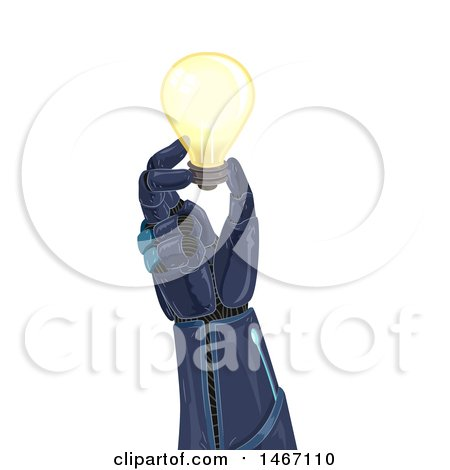 Clipart of a Robotic Hand Holding a Light Bulb - Royalty Free Vector Illustration by BNP Design Studio