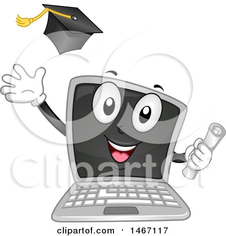 Clipart of a Laptop Computer Mascot Holding a Diploma and Tossing a Graduation Cap - Royalty Free Vector Illustration by BNP Design Studio