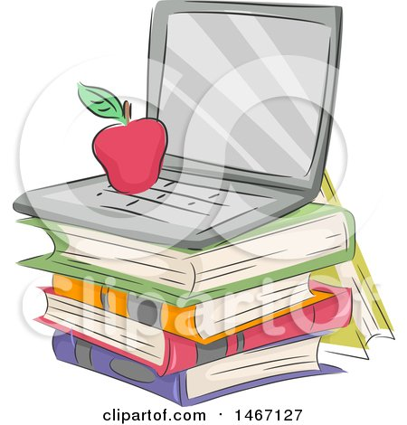 Clipart of a Sketched Apple on a Laptop Computer over a Stack of Books - Royalty Free Vector Illustration by BNP Design Studio