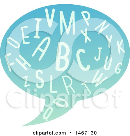 Clipart of a Speech Balloon with Alphabet Letters - Royalty Free Vector Illustration by BNP Design Studio