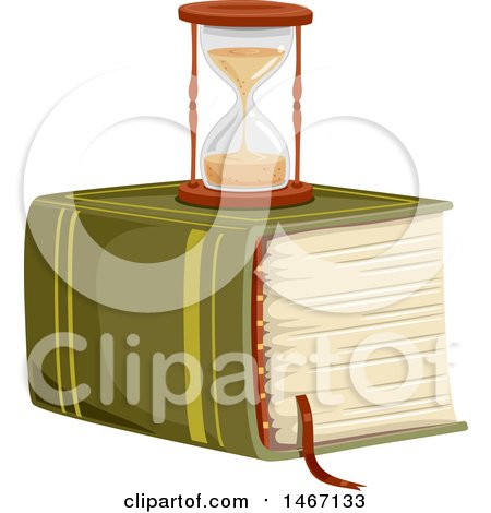 Clipart of a Hourglass on Top of a Massive Book - Royalty Free Vector Illustration by BNP Design Studio