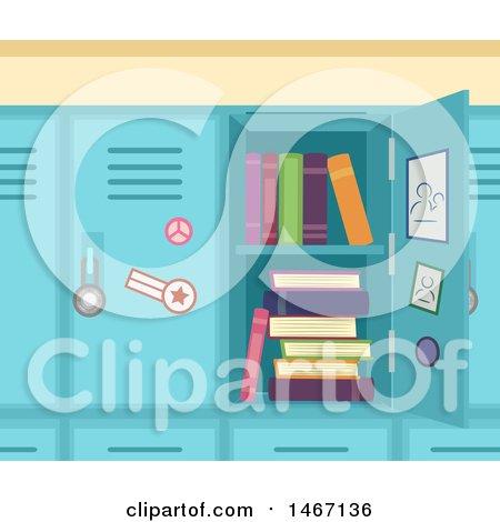 School Locker with Books Posters, Art Prints