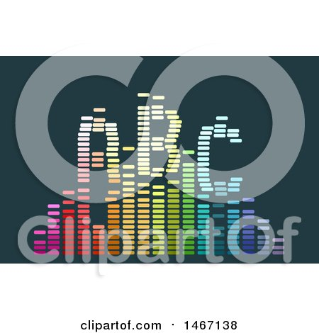 Clipart of a Colorful Sound Wave with Abc - Royalty Free Vector Illustration by BNP Design Studio