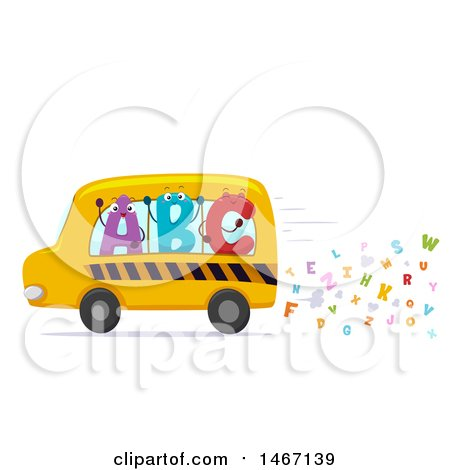 Clipart of a School Bus with Abc Characters and Letter Exhaust - Royalty Free Vector Illustration by BNP Design Studio