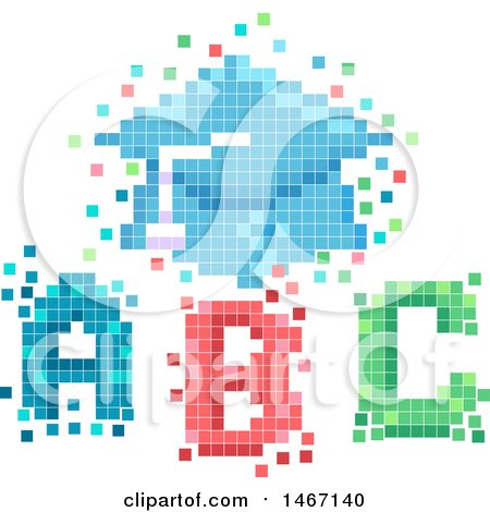 Clipart of a Pixelated Graduation Cap and ABC Letters - Royalty Free Vector Illustration by BNP Design Studio